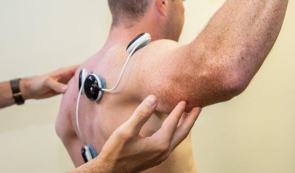 ELECTRICAL MUSCLE STIMULATION (EMS) treatment on shoulder